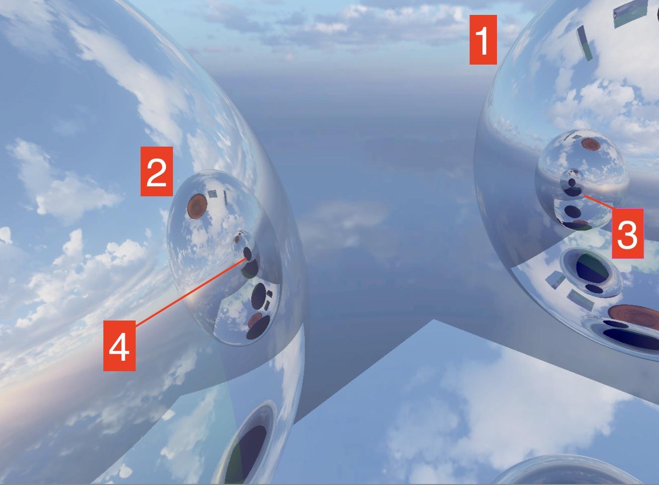 Image of multiple reflection between spheres